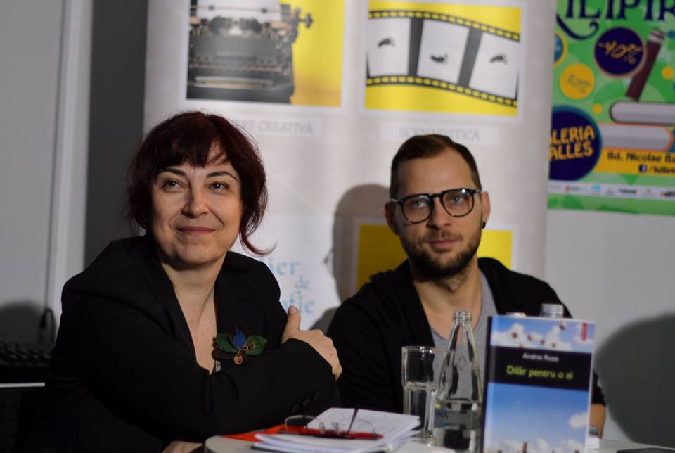 luminita codrescu and andrei stan at pop-up stories club